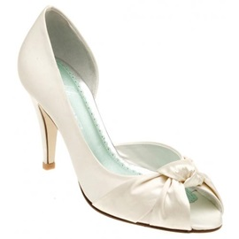 Popular Leatherette Upper Stiletto Heel Peep-toes with Bowknot Wedding Shoes