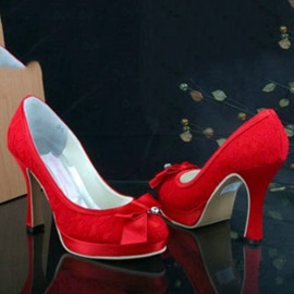 Cloth Upper Wedding Shoes with Red Bows
