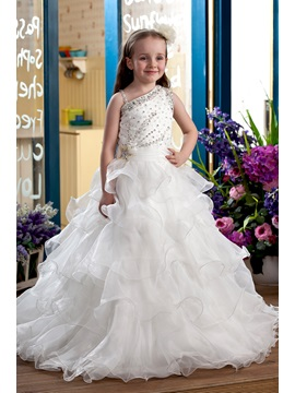 Elegant Ball Gown Floor-Length Tiered & Beaded Sequins Flower Girl Dress