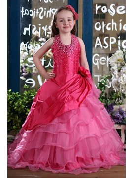 Simple Style Ball Gown Floor-length Halter Sequins & Flower Embellishing Flower Girl Dress