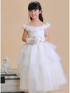Unique Ball Gown Roses Off-The-shoulder Floor Length Flower Girl Dress