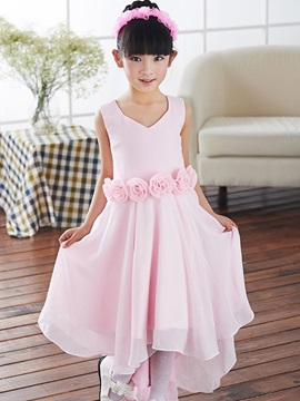 Cute V Neck Zipper-Up Asymmetry Flower Sashes Flower Girl Dress