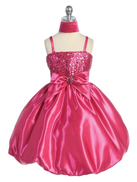 A-line Knee-length Spaghetti Straps Bowknot& Sequins Flower Girl Dress