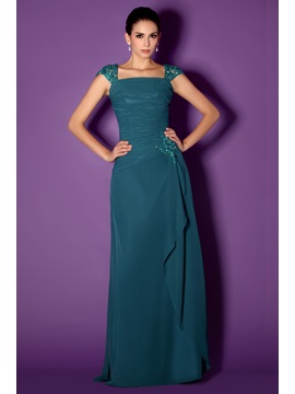 Graceful Lace Beaded A-Line Square Neckline Floor-Length Taline's Mother of the Bride Dress