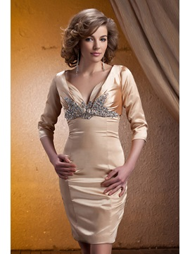 Graceful Beaded Sheath/Column V-Neck Knee-Length Mother of the Bride Dress With Jacket/Shawl