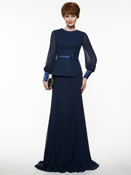 Simple Jewel Neck Sheath Long Mother of the Bride Dress With Sashes