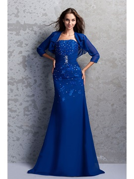 Attractive Beaded A-line Strapless Floor-Length Miriama's Mother of the Bride Dress With Jacket/Shawl