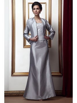 Popularable Beaded Mermaid Floor-Length Taline's Mother of the Bride Dress With Jacket/Shawl