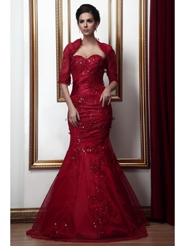 Fabulous Appliques Mermaid/Trumpet Sweetheart Long Mother of the Bride Dress With Jacket/Shawl