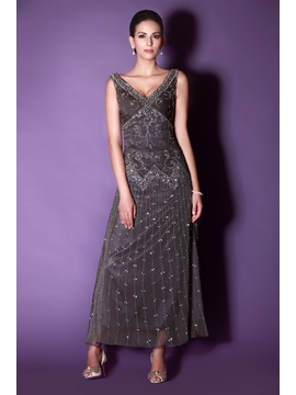Graceful V-Neck A-Line Ankle-length Embroidery Sequins Taline's Mother of The Bride Dress