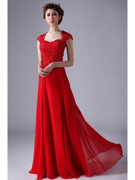 Sweetheart Lace Sequins A-Line Cap Sleeves Long Prom Dress