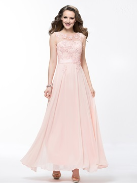 Awesome Scoop Neckline Lace Appliques Sequins Pearls Long Prom Dress