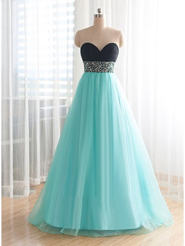 Fancy Sweetheart Beading Lace-Up Long Prom Dress