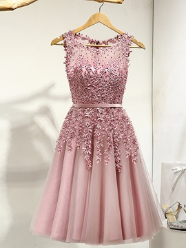Fancy Straps Appliques Beading Short Prom Dress