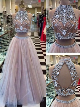 Modern High Neck Beading Two Piece Prom Dress