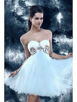 Lovely Empire Sweetheart Strapless Beading Sandra's Mini Sweet 16 Dress