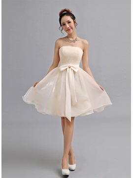 Delightful Strapless A-Line Bowknot Lace Knee-Length Lace-up 16 Dress
