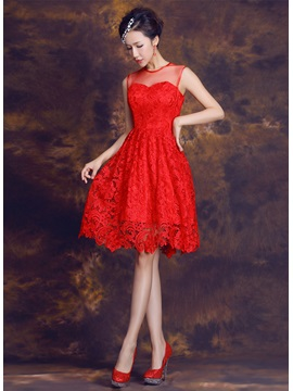 Delicate Jewel Neck Lace A-Line Knee-Length Homecoming Dress & fashion Sweet 16