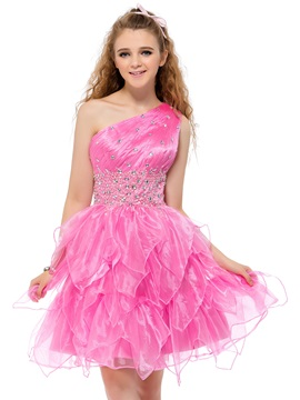 Cute One-Shoulder Beading Tiered A-Line Short Homecoming Dress & unusual Sweet 16
