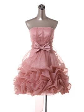 Fine Strapless A-Line Pick-ups Bowknot Lace-up Short Sweet 16 Dress