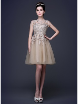 Tidebuy Jewel Neck Appliques A-Line Lace-up Short Homecoming Dress & Sweet 16 from china