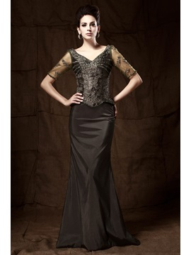 Fashionable Lace Beading Trumpet V-Neck Floor-length Taline's Mother of the Bride Dress