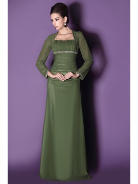Modest Long Sleeves Sheath Square Neckline Sequins Floor-length Taline's Mother of The Bride Dress