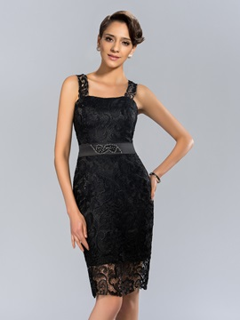 Straps Column Lace Beading Knee-Length Formal Dress