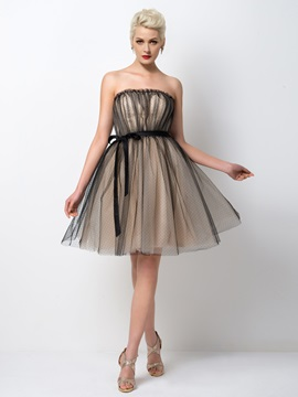 Cool Strapless A-Line Sashes Knee-Length Cocktail Dress Designed