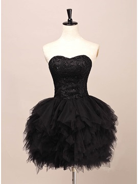 Cool Sweetheart Lace Beading Tiered Short Black Cocktail Dress