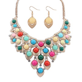 Multi Color Round Gemstone Rhinestone Jewelry Set Including Necklace And Earrings