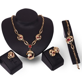 Red Gems Inlaid Alloy Four Pieces Jewelry Set