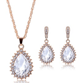 Shining Crystal Pendant Jewelry Set for Women