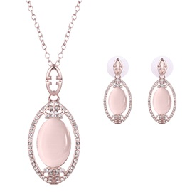 Sweet Pink Gemstones Inlaid Jewelry Set for Women
