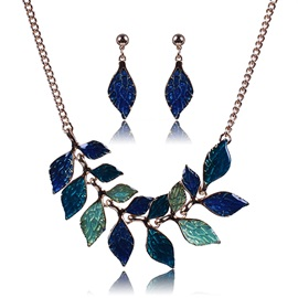 Colorful Leaves Oil Drip Jewelry Set
