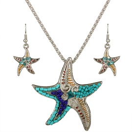 Alloy Starfish Pendant Jewelry Set