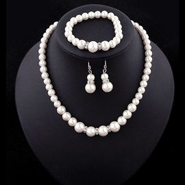 Classic Pearl Three Pieces Jewelry Set