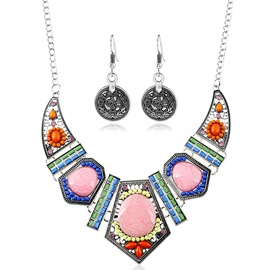Colorful Geometric Ceramic Jewelry Set