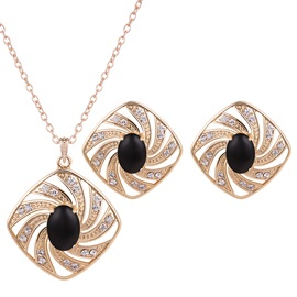 Golden Plated Black Artificial Stone Inlaid Jewelry Set