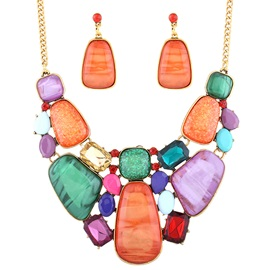 Colorful Geometry Artificial Gems Inlaid Jewelry Set