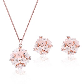 Sweet Flowers Design All-Matched Two Pieces Jewelry Set