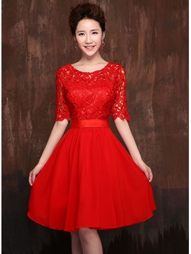 Classic Knee Length Half Sleeves Lace Jewel Neck Sashes Bridesmaid Dress