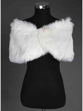 New Style Faux Fur Synthetic Pearl Wedding Shawl