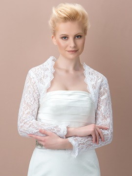 Delicate Lace Long Sleeves Wedding Jacket
