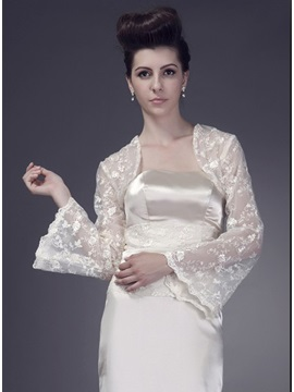 Glamorous Long Sleeve Ivory Lace Wedding Bolero/Jacket