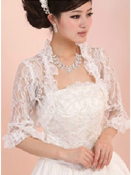 3/4 Sleeve White Lace Wedding Bolero Jacket with Floral edge