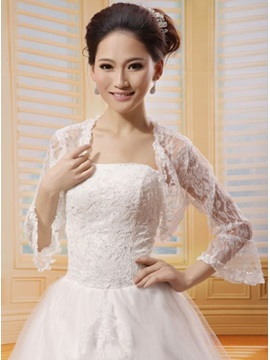 Long Poet Sleeve White Lace Wedding Bolero Jacket with Floral Edge