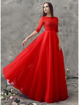 Wonderful Half Sleeves Appliques Sequins Long Prom Dress