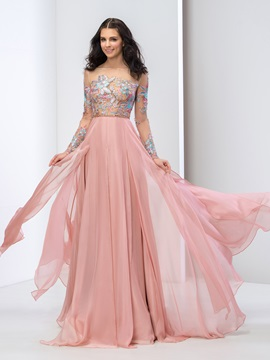 Stunning Bateau Neck Long Sleeves Appliques A-Line Lace-up Long Prom Dress