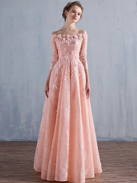 Dramatic Off the Shoulder 3/4-Length Sleeve Lace Prom Dress